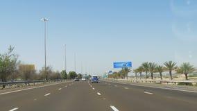 Dubaj miasta wycieczki samochodowej przejażdżki dnia samochodowy światło 4k uae zdjęcie wideo