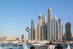 Dubaj miasta zabawy wodne aktywność, atrakcje turystyczne przy Dubaj Marina, UAE zaznaczają zdjęcie stock