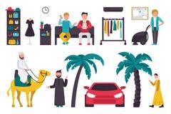 Dubaj mieszkania set Odizolowywający Na Białym tle, ludzie wektor ilustraci Zdjęcie Royalty Free