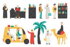 Dubaj mieszkania set Odizolowywający Na Białym tle, ludzie wektor ilustraci Zdjęcia Royalty Free