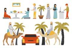Dubaj mieszkania set Odizolowywający Na Białym tle, ludzie wektor ilustraci Obraz Royalty Free