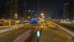Dubaj nocy ruchu drogowego czasu upływ Niecka up zbiory wideo
