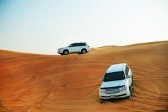 Dubaj pustyni wycieczka w samochodzie Obrazy Royalty Free