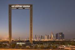 Dubaj ramowy budynek przy wschodem słońca Zdjęcie Stock