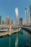 Dubaj, SIERPIEŃ - 9, 2014: Dubaj Marina okręg dalej Fotografia Stock