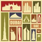 Dubaj UAE miasta ikony symbolu sylwetki wektorowy set ilustracji