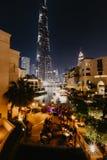 DUBAJ, UAE - styczeń 02,2019: Burj Khalifa drapacz chmur w nocy, Dubaj Burj Khalifa jest wysokim drapaczem chmur w świacie zdjęcia stock