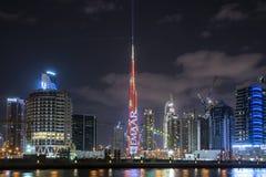 DUBAJ, UAE - styczeń 07,2018: Burj Khalifa drapacz chmur w nigh Zdjęcie Stock