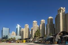 DUBAJ, UAE - styczeń 07, 2018: : Miasto sceneria Dubaj Marina, U Zdjęcia Stock