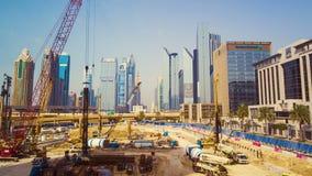 DUBAJ, UAE - WRZESIEŃ 21, 2014: timelapse budynku budowa w Dubai śródmieściu zbiory wideo