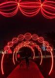 Dubaj łuny park w wieczór Zdjęcia Stock