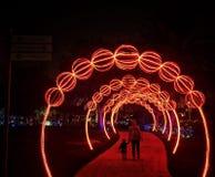 Dubaj łuny park w wieczór Obrazy Stock