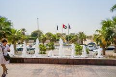 Dubaj W lecie 2016 Nowożytny hotelowy buduje Sheraton Sharjah miejscowości nadmorskiej zdrój w zielonej oazie na brzeg Arabski Fotografia Stock