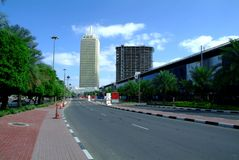 Dubaj world trade center i Powystawowe sala Fotografia Stock