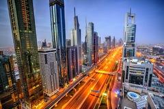 Dubaj zmierzchu panoramiczny widok Burj Khalifa obrazy royalty free