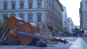 Dubbel Bass Street Music Instrument stock footage