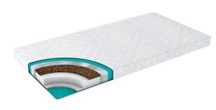 Dubbel bekväm ortopedisk madrass som ut klipps i realistisk stil med den isolerade lagersikten, illustration 3d stock illustrationer