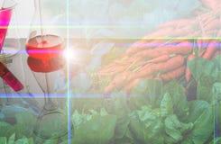 dubbel blootstellingsbeeld van groente en laboratorium Stock Foto
