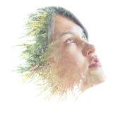 Dubbel blootstellingsportret van een natuurlijke schoonheid Royalty-vrije Stock Afbeelding