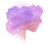 Dubbel blootstellingssilhouet van vrouw met bespatte waterkleur stock illustratie