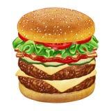 Dubbel Cheeseburger vektor illustrationer