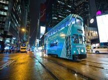 Dubbel däckspårvagn, Hong Kong, Kina Royaltyfri Fotografi