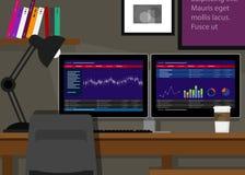 Dubbel de transactie eindbureau van de twee monitorvoorraad Royalty-vrije Stock Afbeelding