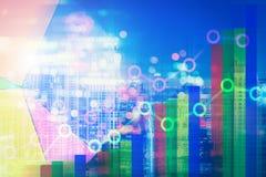 Dubbel explosure av affärsdiagram och finansiellt område av M stock illustrationer