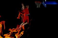 Dubbel exponering av basketspelaren i handling royaltyfria bilder