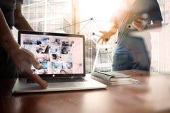 Dubbel exponering av den nya moderna bärbar datordatoren Royaltyfria Bilder