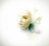 Dubbel exponering av den unga kvinnan och växter fotografering för bildbyråer