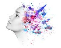 Dubbel exponering av kvinnan och vattenfärgmålarfärg royaltyfria bilder