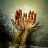 Dubbel exponering av kvinnligs händer arkivbild