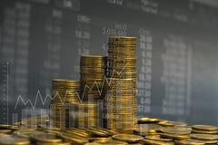 Dubbel exponering av myntbunten med boaen för aktiemarknadskärmdiagram royaltyfria foton