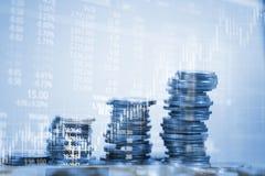 Dubbel exponering av myntbunten med boaen för aktiemarknadskärmdiagram stock illustrationer