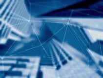 Dubbel exponering av nätverks- och datautbytet med stadsbakgrund illustration 3d royaltyfri illustrationer