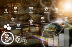 Dubbel exponering av staden eller anslutning med nätverket 5G Arkivfoto