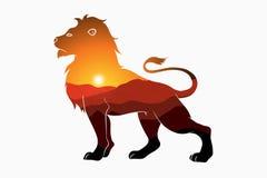 Dubbel exponering för lejon och för natur - djur kontur med den berglandskap och solen Modern moderiktig illustration för logo stock illustrationer