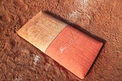 Dubbel första bas för softball Arkivbild