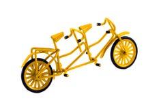 Dubbel fietsstuk speelgoed decor dat op wit wordt geïsoleerdd royalty-vrije stock foto's