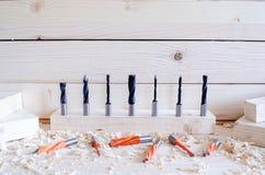 Dubbel flöjtlåspinnedrillborr Precisionhjälpmedel för snickeribransch fotografering för bildbyråer