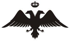 Dubbel geleid adelaarssilhouet met kroon Stock Afbeeldingen