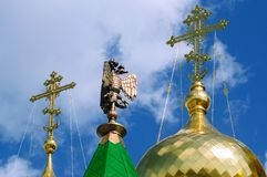 Dubbel-geleide adelaar bij de Kathedraal van de Aankondiging van Heilige Maagdelijke Mary stock foto's
