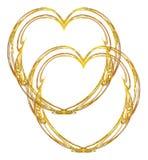 Dubbel gouden hartontwerp Royalty-vrije Stock Afbeeldingen