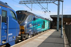 Dubbel hövdad dieselCarnforth för grupp 68 station Royaltyfria Foton