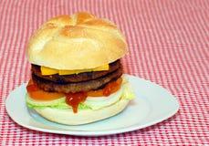 dubbel hamburgareplatta royaltyfria foton