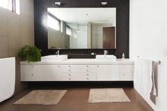 Dubbel handfatfåfänga och spegel i modernt nytt badrum arkivbild