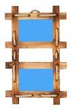 Dubbel houten fotoframe dat op wit wordt geïsoleerdl Royalty-vrije Stock Afbeeldingen