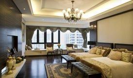 dubbel interior för sovrum royaltyfria bilder