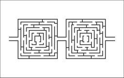 Dubbel moeilijk en lang labyrint onderwijsspel zoals glazenwit Stock Fotografie